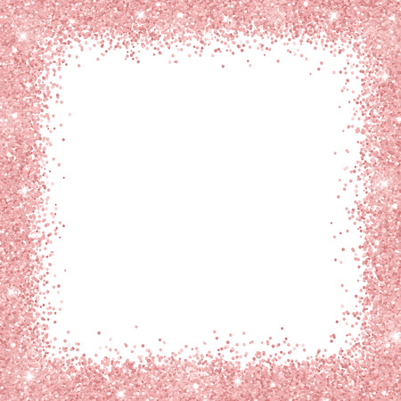 Border frame with rose gold glitter on white background vector illustration. Vettoriali