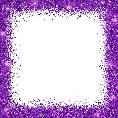 Purple glitter, square border frame Vector illustration