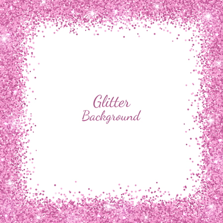 Border frame with pink glitter on white background. Vector illustration