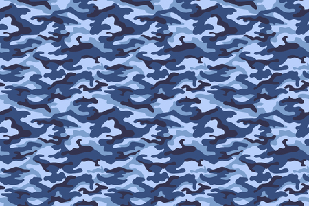 Military camouflage texture, blue colors. Vector illustration