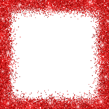 Red border frame glitter on white background. Vector illustration