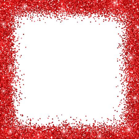 Red border frame glitter on white background. Vector illustration