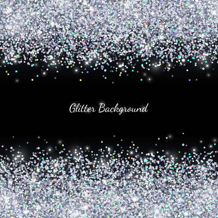 Silver glitter with colored particles on black background. Vector illustration
