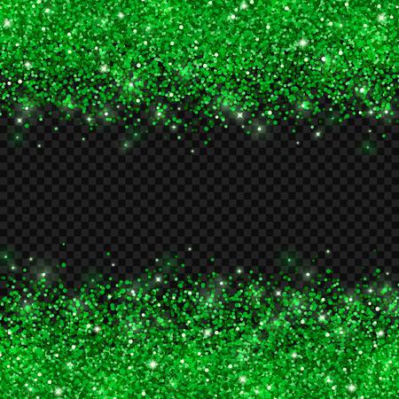 Green glitter on dark transparent background. Vector Çizim