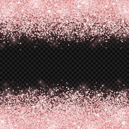 Rose gold glitter on dark transparent background. Vector illustration