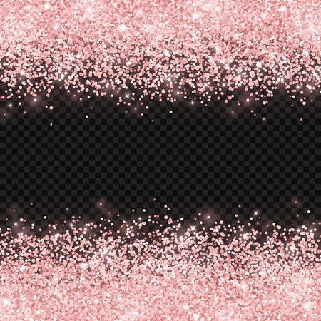 Rose gold glitter on dark transparent background. Vector illustration