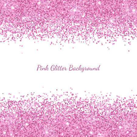 Pink glitter border placer on white background. Vector illustration