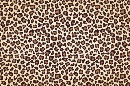 Leopard fur print, horizontal texture with dark borders. Vector illustration