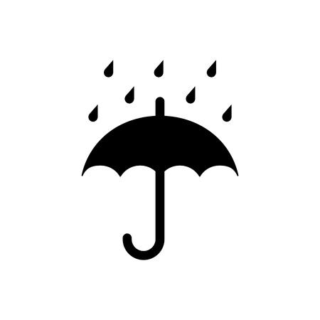 Zachowaj symbol suchego opakowania, parasol i krople deszczu. Ilustracji wektorowych