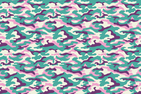 Camouflage texture, turquoise purple pink colors. Vector illustration