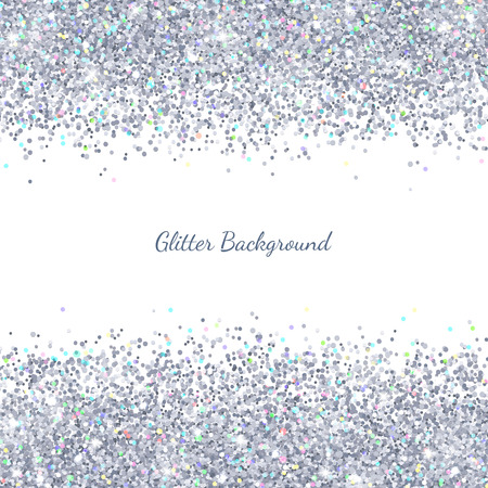 Silver glitter with colored particles on white background. Vector illustration
