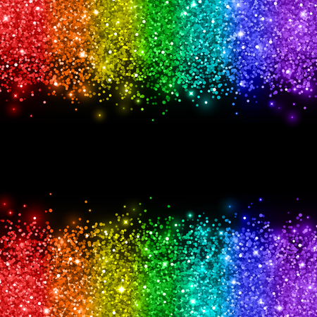 Rainbow glitter on black background. Vector illustration.