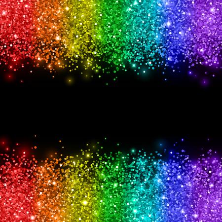 Rainbow glitter on black background. Vector illustration.