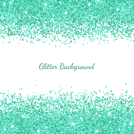Turquoise glitter on white background. Vector