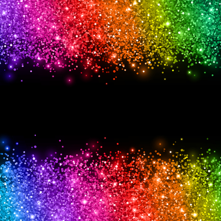Multicolored glitter on black background. Vector