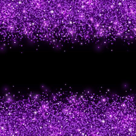 Purple glitter scattered on black background. Vector