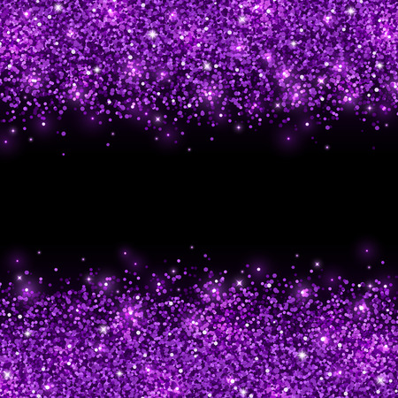 Purple glitter scattered on black background. Vector