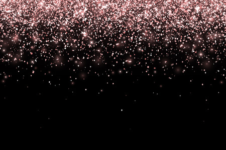 Rose gold falling particles on black background. Vector Фото со стока - 102213124