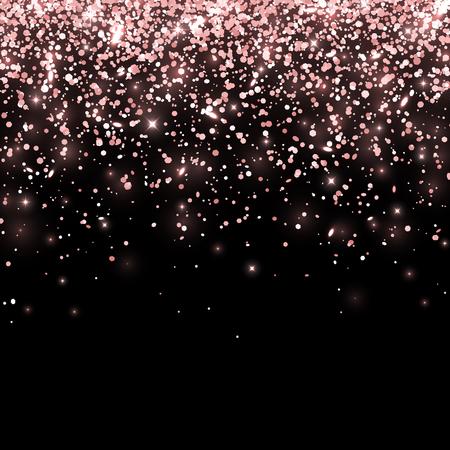 Glitter cadenti oro rosa su sfondo nero. Vettore