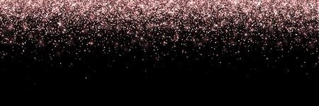 Or rose tombant des particules sur fond noir, large bannière. Vecteur