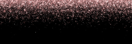 Rose gold falling particles on black background, wide banner. Vector