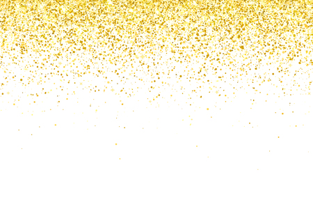 Gold glitter particles on white background. Vector illustration Иллюстрация