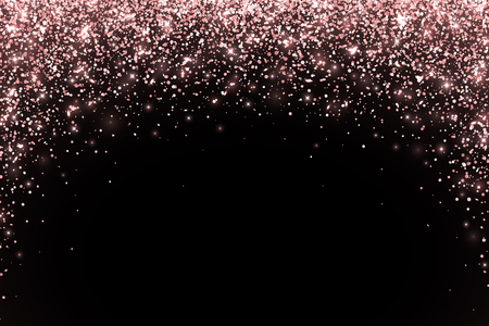 Rose gold falling particles on black background, arch form. Vector illustration Иллюстрация