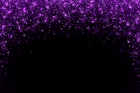 Purple falling particles arch shape on black background. Vector illustration Фото со стока