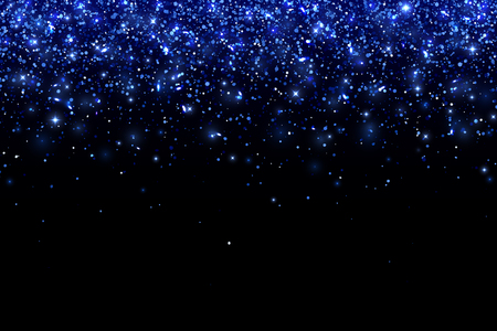 Blue falling particles on black background, horizontal orientation. Vector illustration Illustration