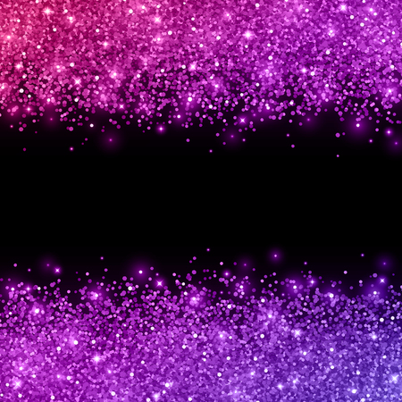Glitter with pink purple color effect on black background. Vector illustration Иллюстрация