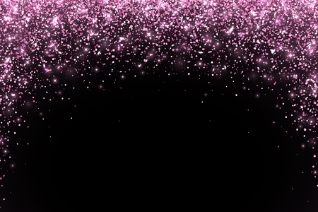Pink falling particles round shape on black background. Vector illustration
