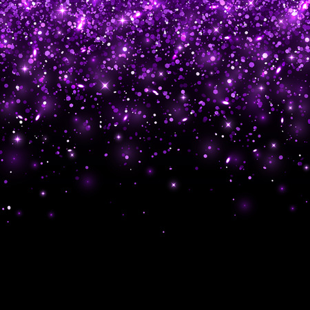 Purple glitter on black background. Vector illustration