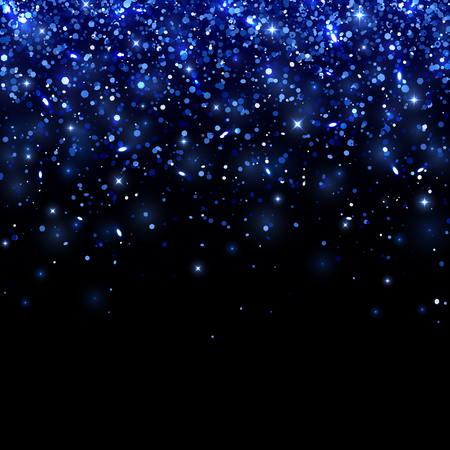 Blue falling particles on black background. Vector illustration