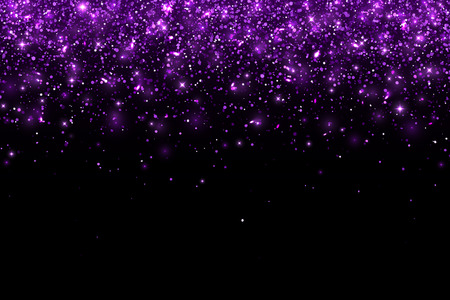 Purple falling glitter particles on black background, horizontal. Vector illustration