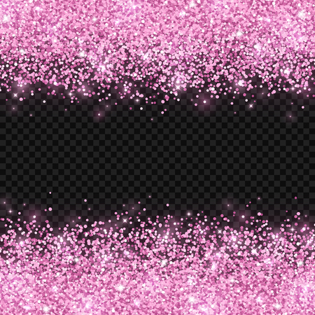Pink glitter on dark transparent background. Vector illustration