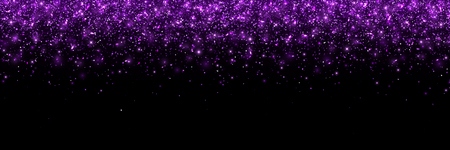 Purple glittering particles on black background, wide banner. Vector illustration