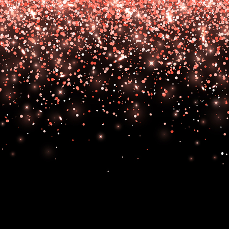 Coral falling glitter on black background. Vector illustration