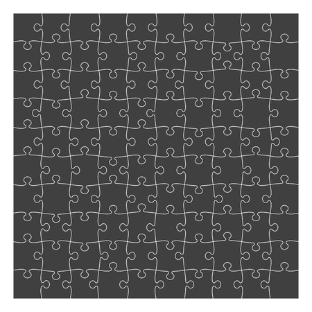 Puzzle template 10x10 pieces, black silhouette. Vector illustration