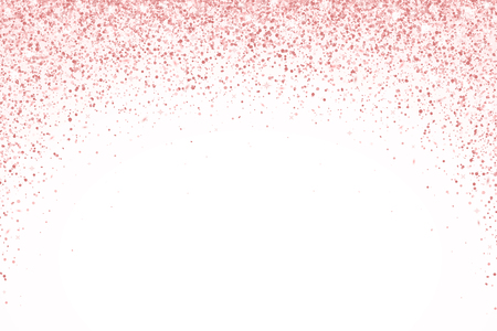 Rose gold falling particles on white background, round form. Vector illustration