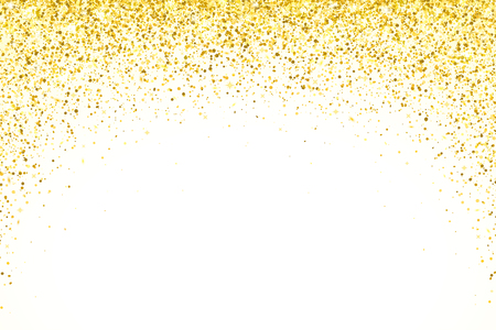 Gold falling particles arch shape on white backround. Vector illustration
