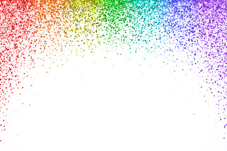Rainbow falling confetti on white background, arch shape. Vector illustration