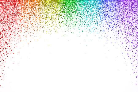 Rainbow spadające konfetti na białym tle, kształt łuku. Ilustracja wektorowa