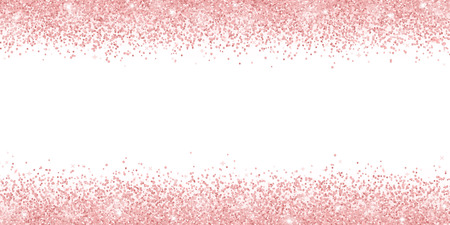 Rose gold glitter on white background, horizontal wide border. Vector illustration 矢量图像