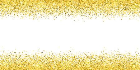 Gold glitter on white background, horizontal wide border. Vector illustration Иллюстрация