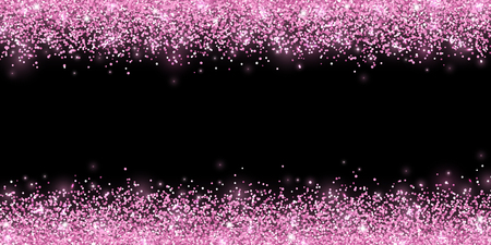 Pink confetti on black background, horizontal wide border. Vector illustration