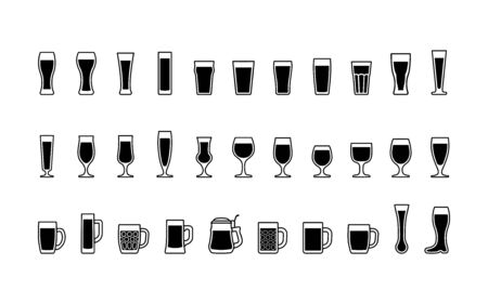 Black and white beer glasses icons. Vector illustration Illusztráció