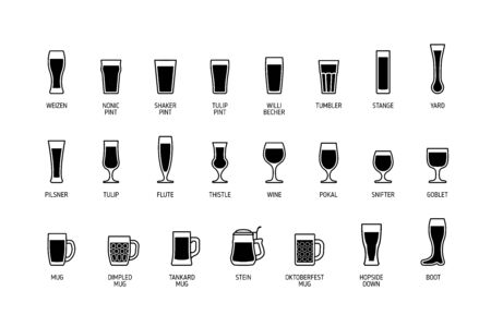 Beer glasses with titles, black and white icons. Vector Illusztráció
