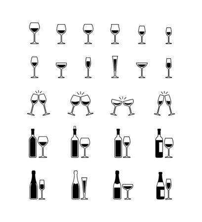 Wine and champagne glasses, bottles, black and white icons. Vector