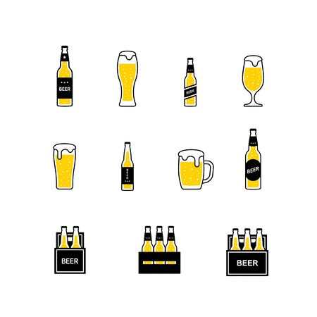 Beer glasses and bottles color icons set. Vector