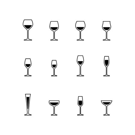Wine and sparkling wine glasses, black and white icons. Vector
